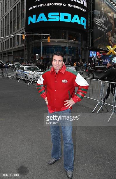 John H Schnatter Founder Chairman CEO of Papa John's International Inc visits NASDAQ MarketSite on January 31 2014 in New York City