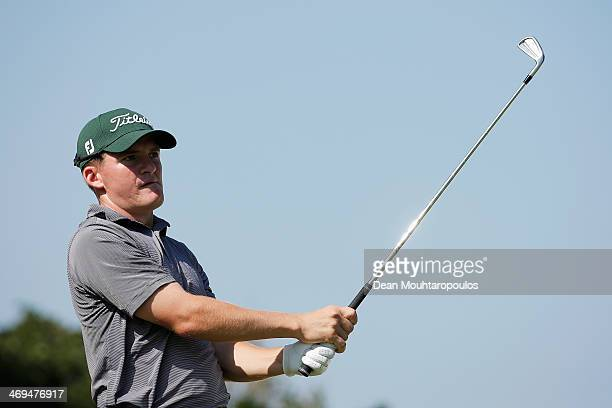 John Hahn of the USA hits his tee shot on the 16th hole during Day 3 of the Africa Open at East London Golf Club on February 15 2014 in East London...
