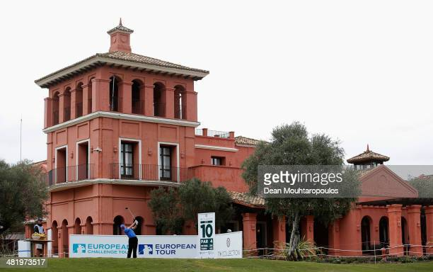 John Hahn of The USA hits is tee shot on the 10th hole during the ProAm for the NH Collection Open held at La Reserva de Sotogrande Club de Golf on...
