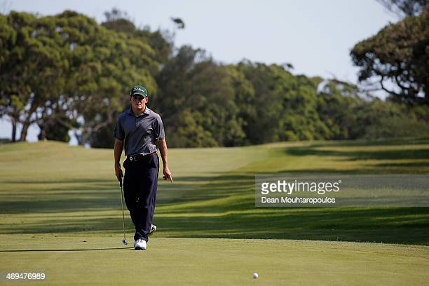 John Hahn of the USA looks after he putts on the 15th green during Day 3 of the Africa Open at East London Golf Club on February 15 2014 in East...