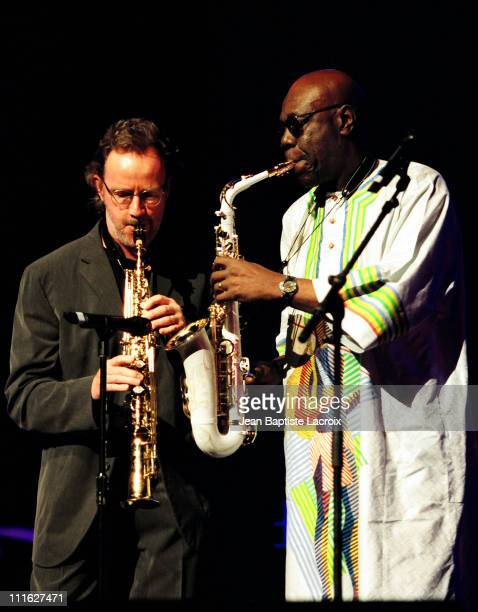 John Halliwell and Manu Dibango during MIDEM 2003 Gaia Concert at Palais des Festivals in Cannes France