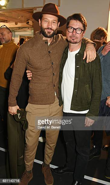 John Halls and Oliver Spencer pose backstage at the Oliver Spencer AW17 Catwalk Show during London Fashion Week Men's January 2017 at the BFC Show...