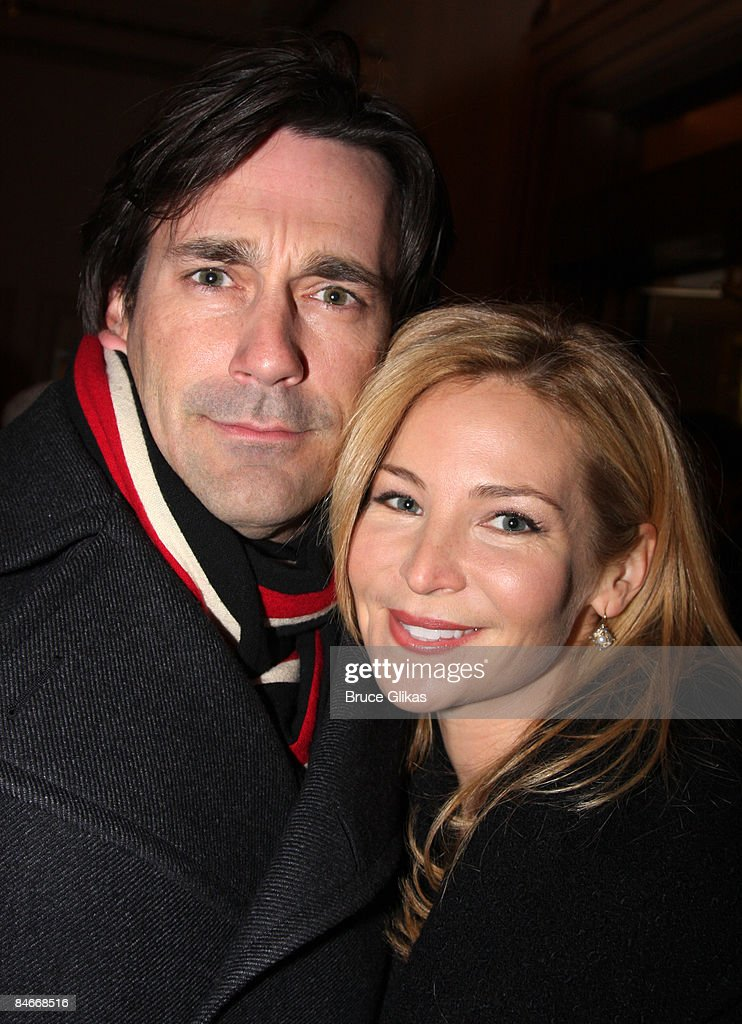 John Hamm and wife Jennifer Westfeldt attend the opening night of 'You're Welcome America. A Final Night with George W. Bush' at the Cort Theater on February 5, 2009 in New York City.