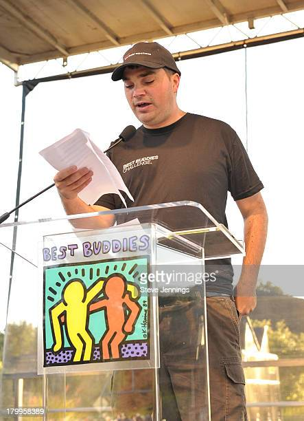 John Hammond speaks onstage at the 100mile start of the Best Buddies Challenge Hearst Castle Carmel to San Simeon at Hearst Castle on September 7...