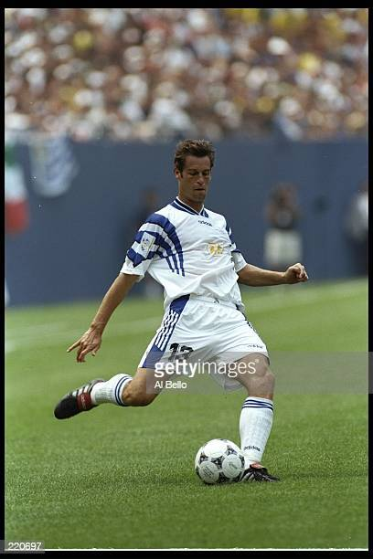 John Harkes of the Allstars moves the ball against Brazil during an MLS game played at the Meadowlands in East Rutherford New Jersey Brazil won the...