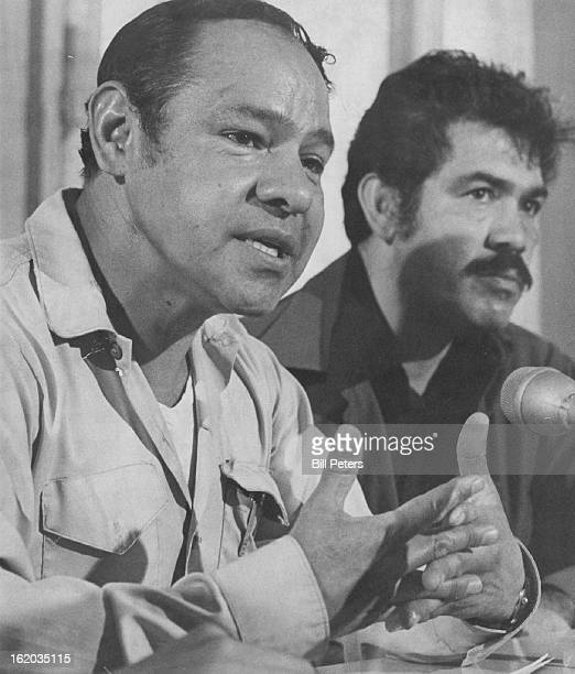 John Haro, Left, Proclaims His Innocence To Reporters; With him is Rodolfo Gonzales, director of the Crusade for Justice.;