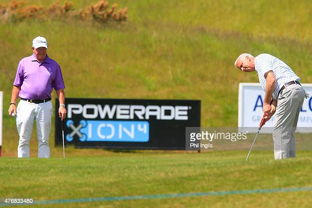 John Harrison of England and Graham Laing of England in action on the 17th hole during the second round of the ISPS Handa PGA Seniors Championship...
