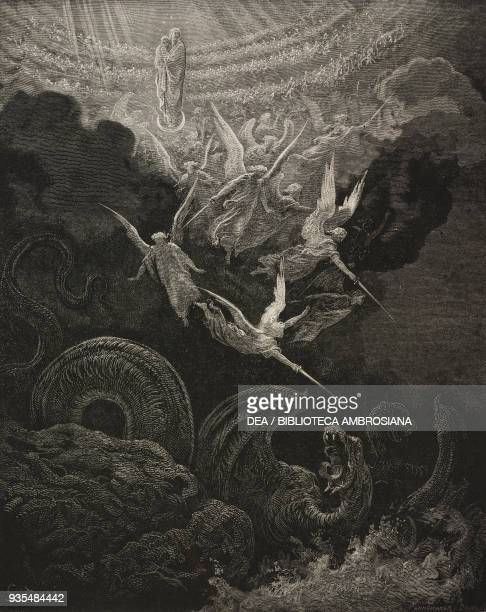 John has a vision of the Virgin clothed with the sun and moon and stars engraving by Gustave Dore from The Holy Scriptures containing the Old and New...