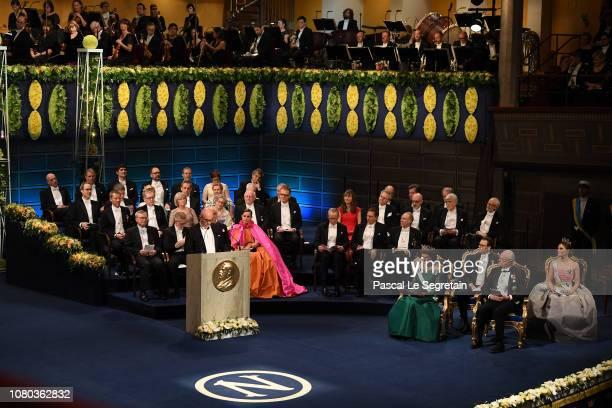 John Hassler gives a speech during the Nobel Prize Awards Ceremony at Concert Hall on December 10 2018 in Stockholm Sweden