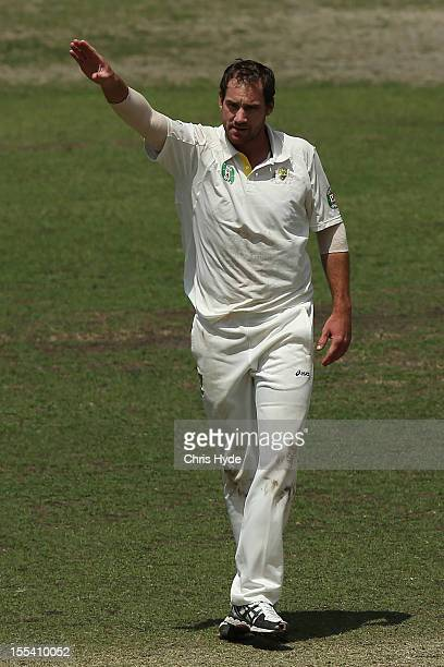 John Hasting of Australia A successfully apeals for the wicket of AB Devilliers of South Africa during day three of the International Tour Match...