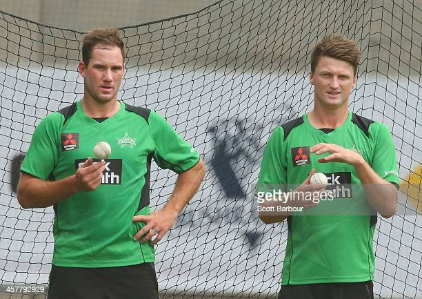 John Hastings and Jackson Bird of the Stars prepare to bowl during a Melbourne Stars Big Bash League training session at the Melbourne Cricket Ground...