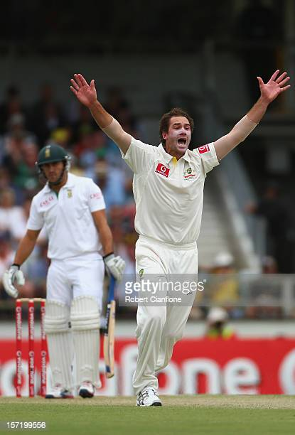John Hastings appeals unsuccessfully for the wicket of Faf du Plessis during day one of the Third Test Match between Australia and South Africa at...