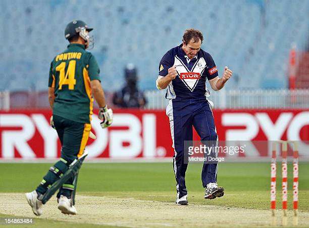 John Hastings celebrates after bowling and dismissing Ricky Ponting of the Tigers during the Ryobi One Day Cup match between Victorian Bushrangers...