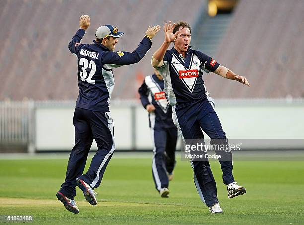 John Hastings celebrates with Glenn Maxwell after bowling and dismissing Ricky Ponting of the Tigers during the Ryobi One Day Cup match between...