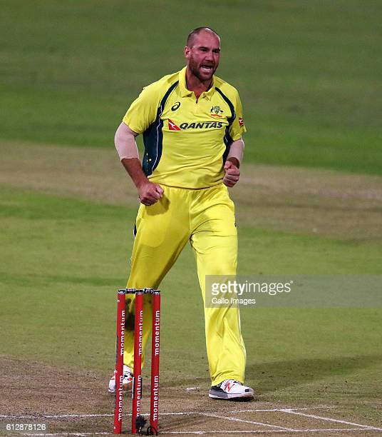 John Hastings during the 3rd Momentum ODI Series match between South Africa and Australia at Sahara Stadium Kingsmead on October 05 2016 in Durban...