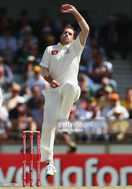 John Hastings of Australia bowls during day one of the Third Test Match between Australia and South Africa at the WACA on November 30 2012 in Perth...