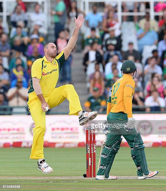 John Hastings of Australia bowls during the 3rd KFC T20 International match between South Africa and Australia at PPC Newlands on March 09 2016 in...