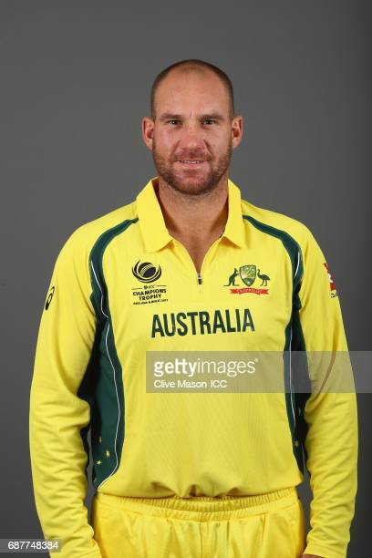 John Hastings of Australia poses during a portrait session ahead of the ICC Champions Trophy at the Royal Garden Hotel on May 24 2017 in London...