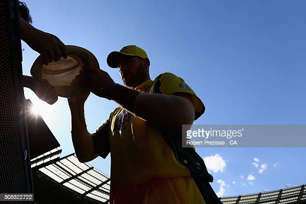 John Hastings of Australia signs autographs during game three of the One Day International Series between Australia and India at Melbourne Cricket...