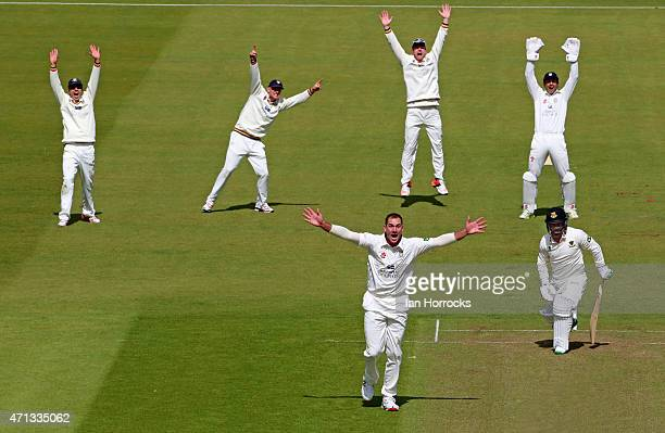John Hastings of Durham appeals for the wicket of Craig Cachopa during the LV County Championship match between Durham CCC and Sussex CCC at The...