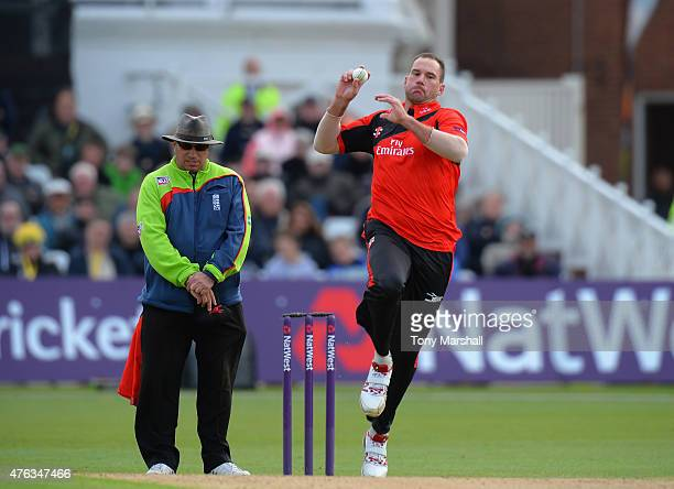 John Hastings of Durham Jets bowls during the NatWest T20 Blast between Nottingham Outlaws and Durham Jets at Trent Bridge on May 31 2015 in...