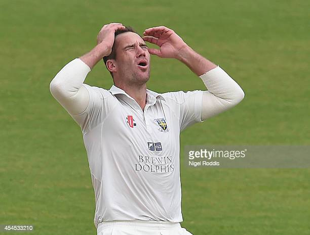 John Hastings of Durham reactsduring the LV County Championship match between Durham and Nottinghamshire at The Riverside on September 3 2014 in...