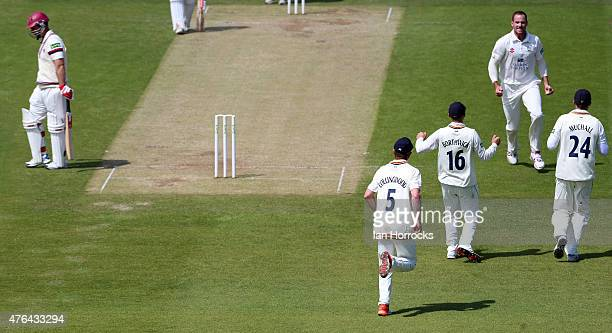 John Hastings of Durham takes the wicket of Jim Allenby of Somerset during day three of the LV County Championship Division One match between Durham...