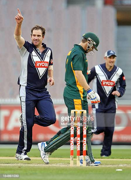 John Hastings of the Bushrangers bowls and dismisses Tim Paine of the Tigers during the Ryobi One Day Cup match between Victorian Bushrangers and the...