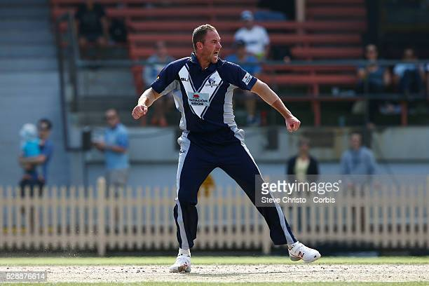 John Hastings of the Bushrangers celebrates the wicket of Blue's Ryan Carters during the Matador BBQ's OneDay Cup between New South Wales Blues and...