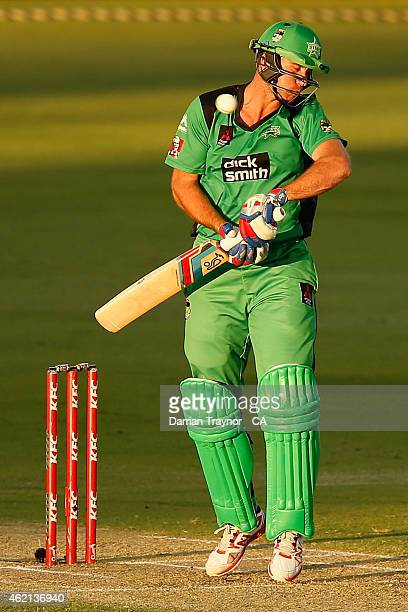 John Hastings of the Melbourne Stars evades a short ball during the Big Bash League Semi Final match between the Perth Scorchers and the Melbourne...