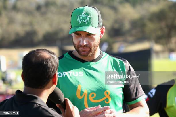 John Hastings of the Melbourne Stars speaks after completing the coin toss during the Big Bash League exhibition match between the Melbourne Stars...