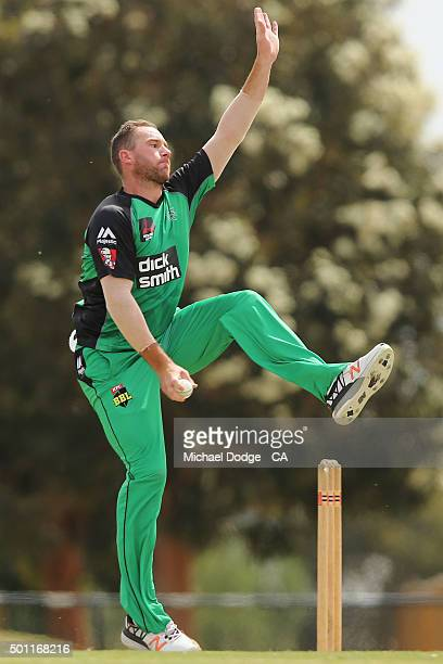 John Hastings of the Stars bowls against the Premier All Stars at Casey Fields during Melbourne Stars Family Day on December 13 2015 in Melbourne...