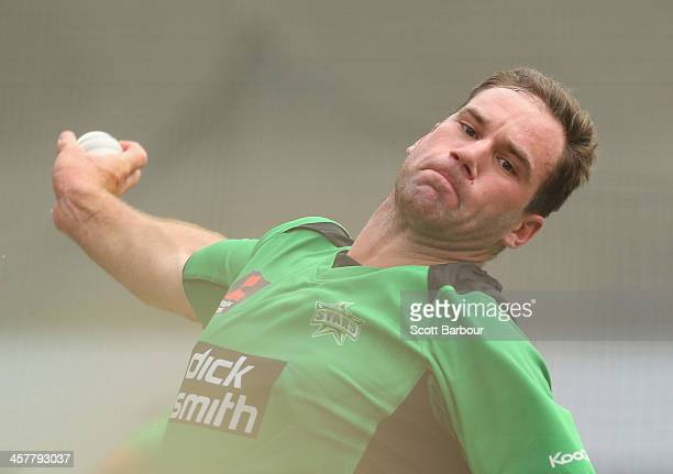 John Hastings of the Stars bowls during a Melbourne Stars Big Bash League training session at the Melbourne Cricket Ground on December 19 2013 in...