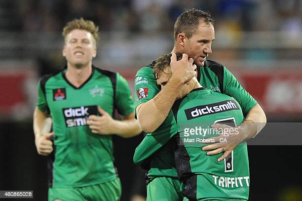 John Hastings of the Stars celebrate a wicket with Tom Triffitt during the Big Bash League match between the Brisbane Heat and the Melbourne Stars at...