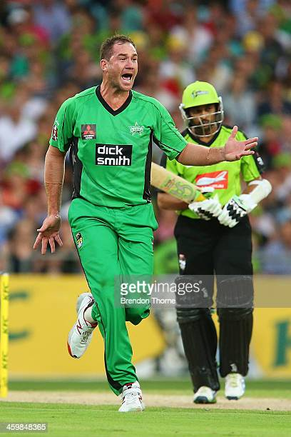 John Hastings of the Stars celebrates after claiming the wicket of Tillakaratne Dilshan of the Thunder during the Big Bash League match between...