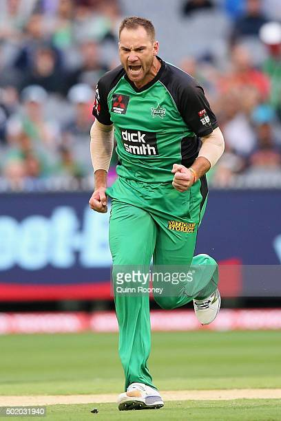John Hastings of the Stars celebrates taking the wicket of Jacques Kallis of the Thunder during the Big Bash League match between Melbourne Stars and...
