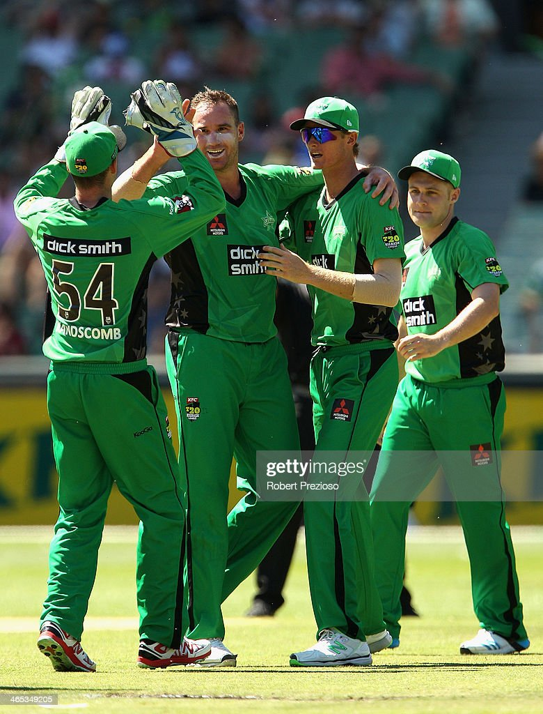 John Hastings of the Stars celebrates the wicket of Mitchell Marsh of the Scorchers during the Big Bash League match between the Melbourne Stars and the Perth Scorchers at Melbourne Cricket Ground on January 27, 2014 in Melbourne, Australia.