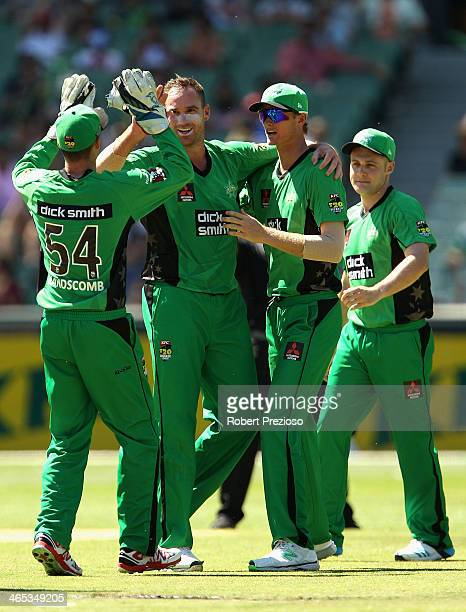 John Hastings of the Stars celebrates the wicket of Mitchell Marsh of the Scorchers during the Big Bash League match between the Melbourne Stars and...
