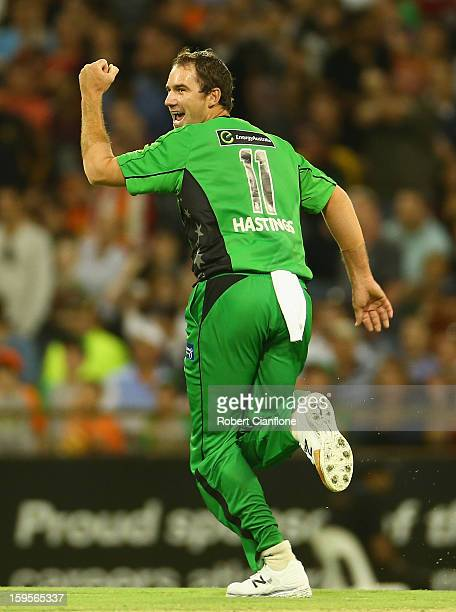 John Hastings of the Stars celebrates the wicket of Nathan CoulterNile of the Perth Scorchers during the Big Bash League semifinal match between the...