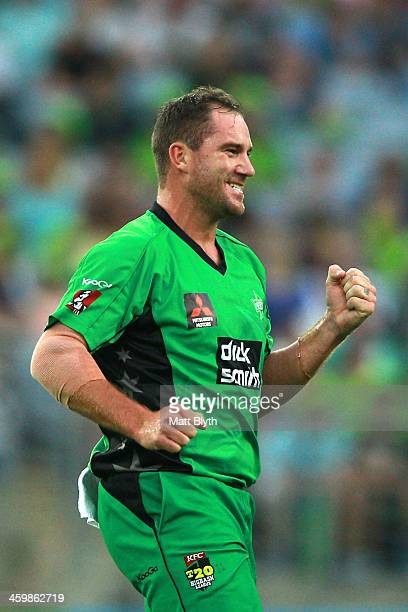 John Hastings of the Stars celebrates the wicket of Tillakaratne Dilshan of the Thunder during the Big Bash League match between Sydney Thunder and...