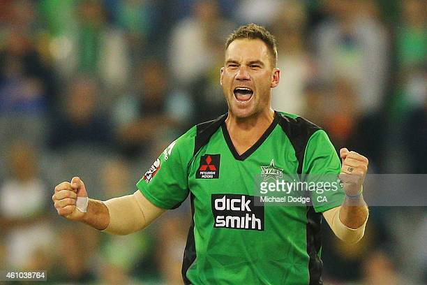 John Hastings of the Stars celebrates winning after his super over during the Big Bash League match between the Melbourne Stars and the Sydney Sixers...