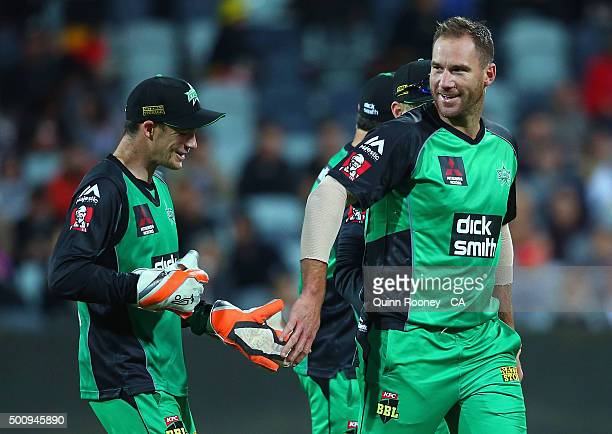 John Hastings of the Stars is congratulated by team mates after getting a wicket during the Big Bash League exhibition match between the Melbourne...