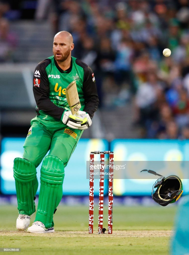 John Hastings of the Stars is hit by a bouncer bowled by Ben Cutting of the Heat and has his helmet knocked off his head during the Big Bash League match between the Melbourne Stars and the Brisbane Heat at Melbourne Cricket Ground on January 2, 2018 in Melbourne, Australia.