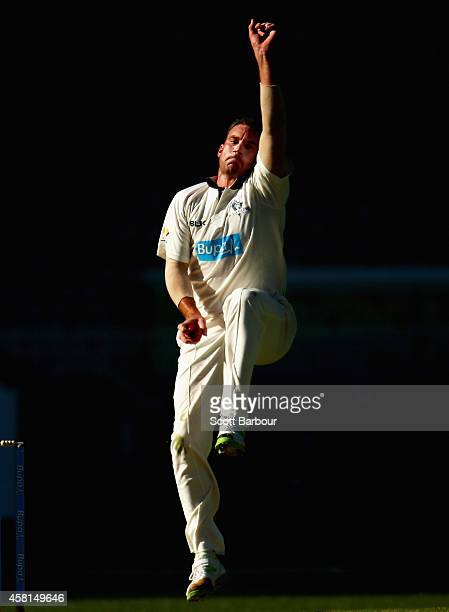 John Hastings of Victoria bowls during day one of the Sheffield Shield match between Victoria and New South Wales at Melbourne Cricket Ground on...