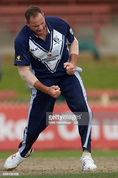 John Hastings of Victoria celebrates after taking the wicket of James Faulkner of Tasmania during the Matador BBQs One Day Cup match between Tasmania...