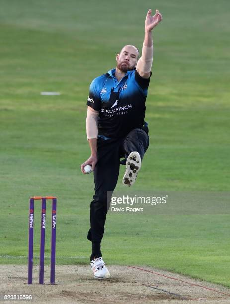 John Hastings of Worcestershire bowls during the NatWest T20 Blast match between Northamptonshire Steelbacks and Worcestershire Rapids at The County...