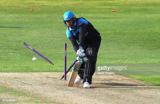 John Hastings of Worcestershire is bowled by Richard Gleeson during the NatWest T20 Blast match between Northamptonshire Steelbacks and...