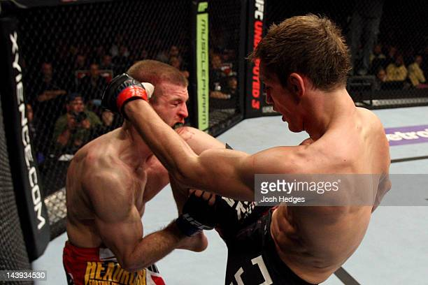 John Hathaway knees Pascal Krauss in the face during their Welterweight bout at Izod Center on May 5 2012 in East Rutherford New Jersey