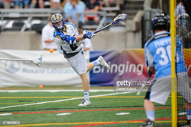 John Haus of the Charalotte Hounds scores against the Ohio Machine at Selby Stadium on May 16 2015 in Delaware Ohio