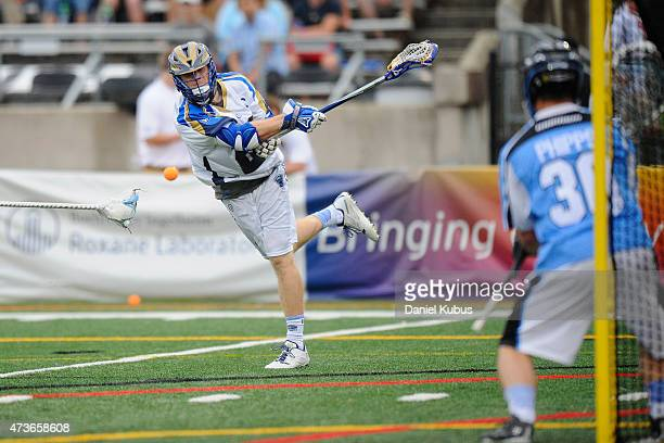John Haus of the Charalotte Hounds scores in the first qurter against the Ohio Machine at Selby Stadium on May 16 2015 in Delaware Ohio